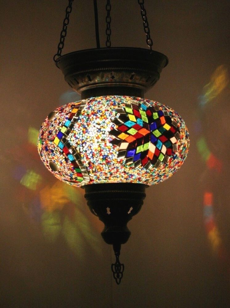 Handmade Multicoloured Turkish Mosaic Lamp Made In Istanbul Height Pendant 14 36 Cm A Mixture Of Coloured Gl Tiles Beads Cover Bulb