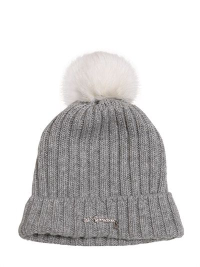 68242df0 Armani Junior - Lapin Pompom Viscose Blend Beanie Hat | AW16 Kids ...