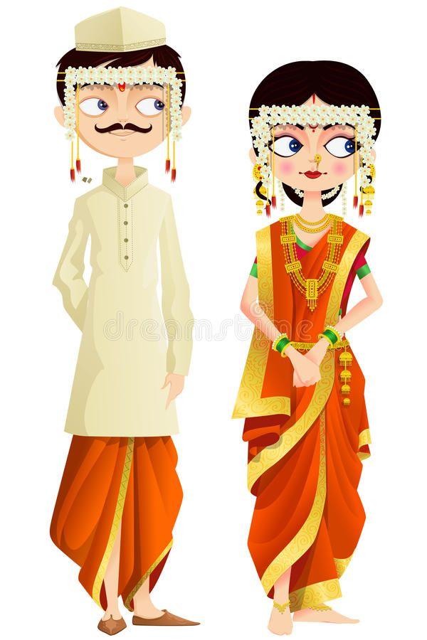 wedding invitation decoration clip art%0A Download Maharashtrian Wedding Couple Stock Vector  Image              Invitation   Pinterest   Wedding couples  Couples and Asian