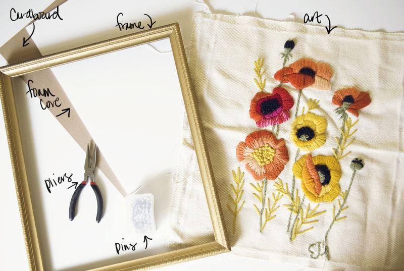 DIY FRAMED ARTWORK - THRIFTED FRAME - CLOTH ART - PINS | d i y ...