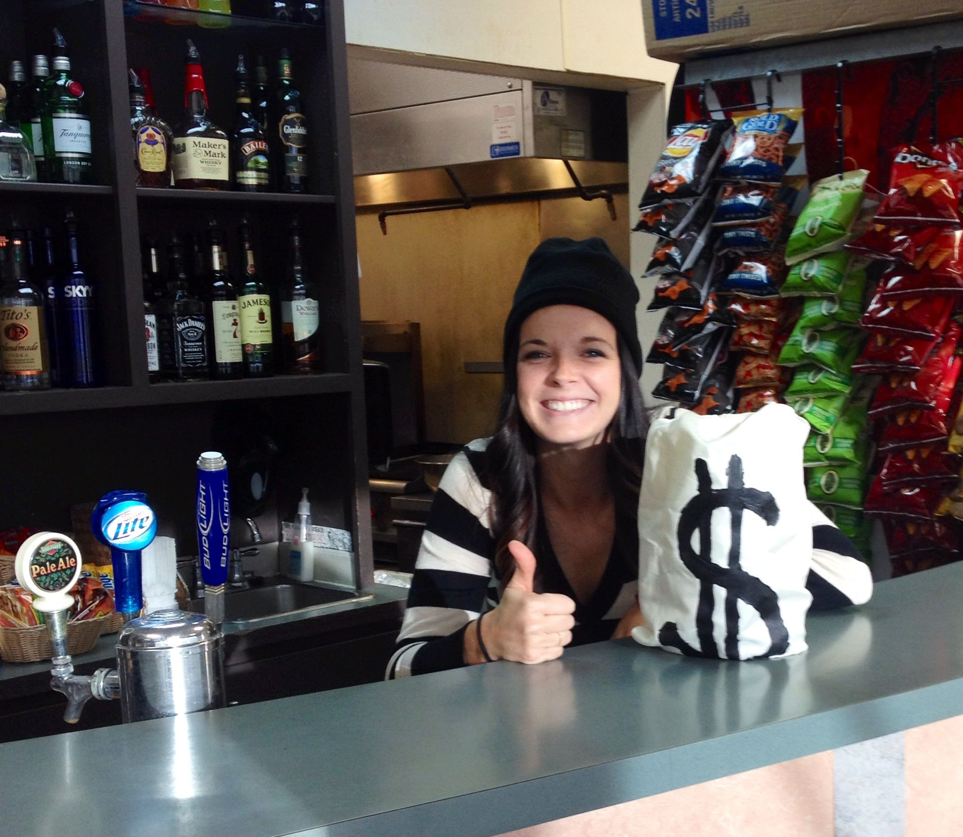 Working at the bar!  Easy Halloween DIY #halloween #costume #halloweendiy #tipjar #robber #givemeyourmoney