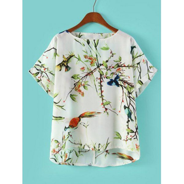 Bird and Floral Print Backless Scoop Collar Short Sleeve Stylish Women's Blouse