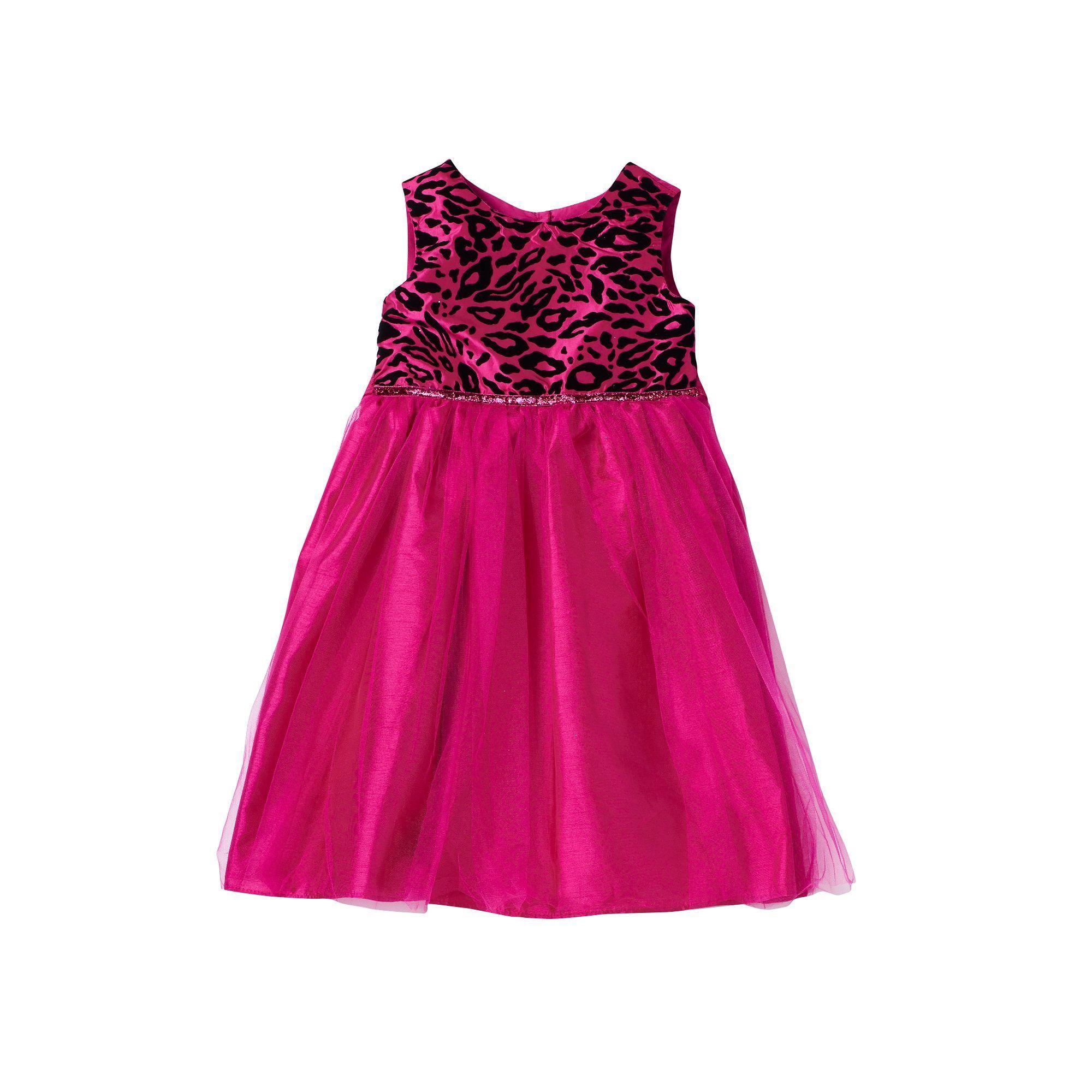 Girls 4 6x Marmellata Classics Velvet Cheetah Glitter Tulle Dress