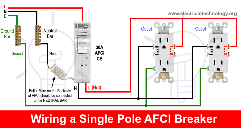 How To Wire An Afci Breaker Arc Fault Circuit Interrupter Wiring Electronic Engineering Types Of Electrical Wiring Breakers