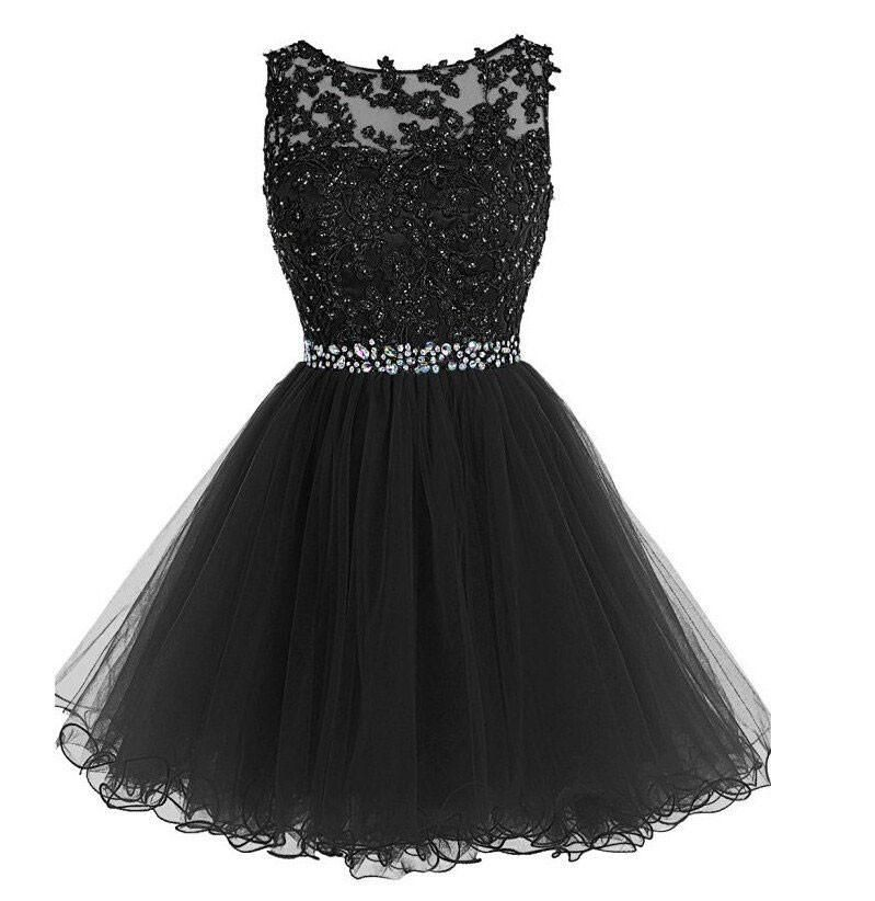 Lace Appliqued Black Tulle Homecoming Dresses,Beaded Hoco Dress ...