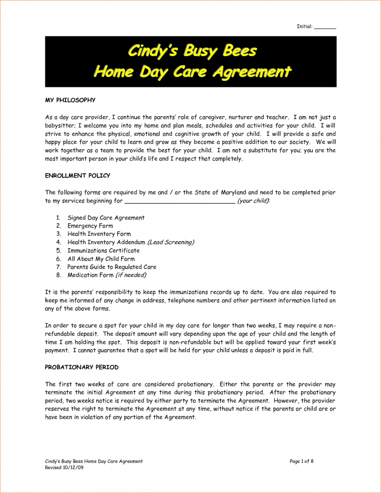 Daycare Contract Sample 2 By Nrk14057 Bible Verse Pinterest