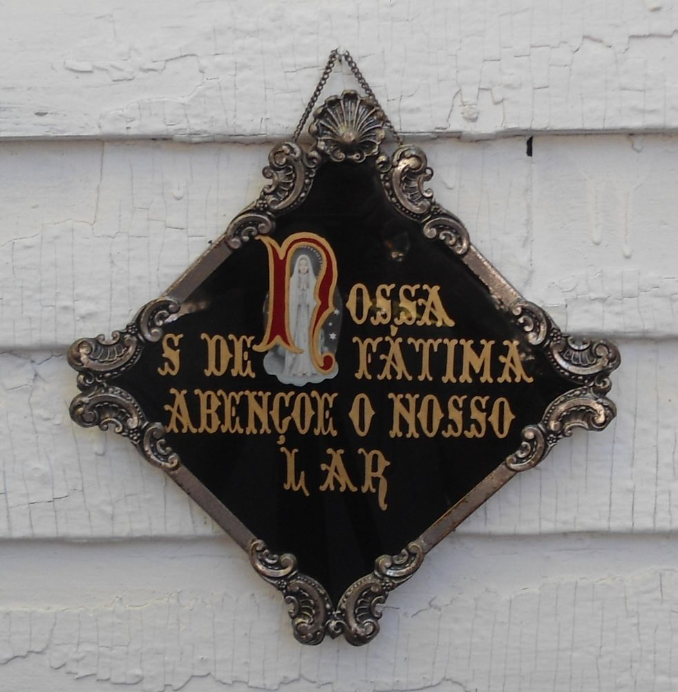 Antique Reverse Painted Portuguese Fatima House Blessing Ornate Frame Plaque
