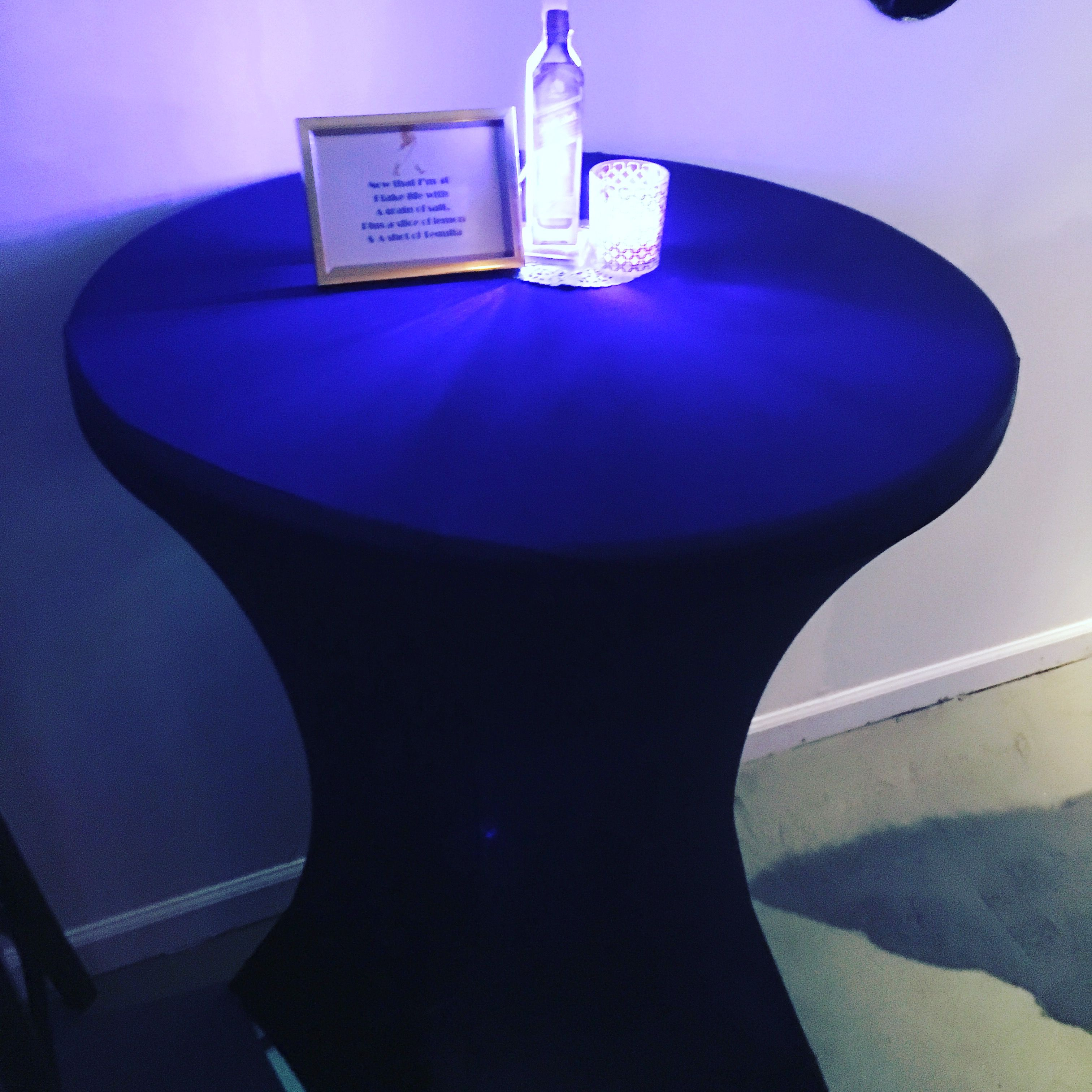 Lighted Johnnie Walker Blue Centerpieces And Blue Cocktail Tables With  Spandex Tablecloth