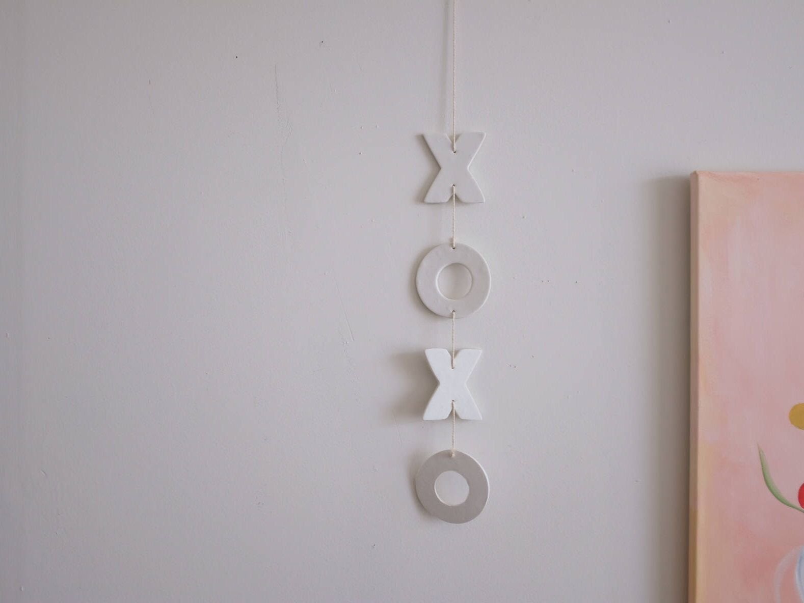 Xoxo mobile white clay mobile wall hanging valentineus day art