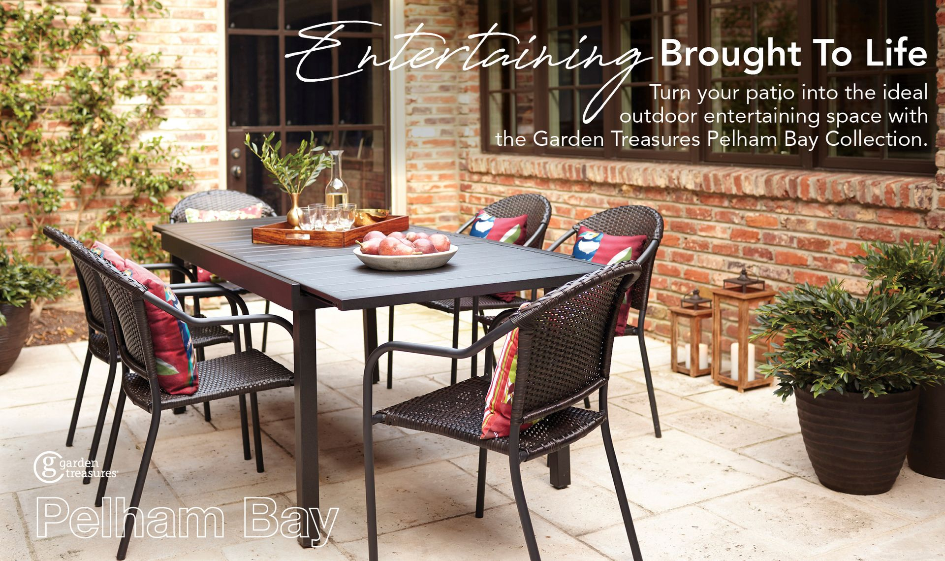 Garden Treasures Pelham Bay Rectangle Extendable Table Dining