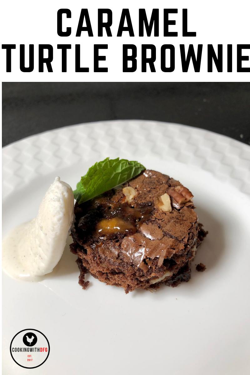 Caramel Turtle Brownie - CookingwithDFG #turtlebrownies