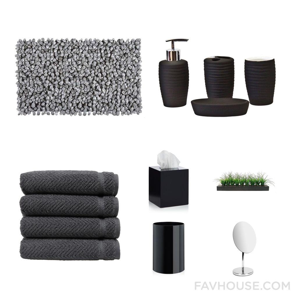 Black And Grey Bath Accessoriesamazing Kids Bathroom Accessories - Black cotton bath mat for bathroom decorating ideas