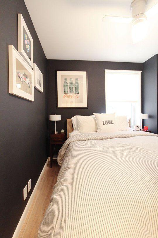 Dunkle Wand im Schlafzimmer u2026 Pinteresu2026 - schlafzimmer einrichtung sie ihn