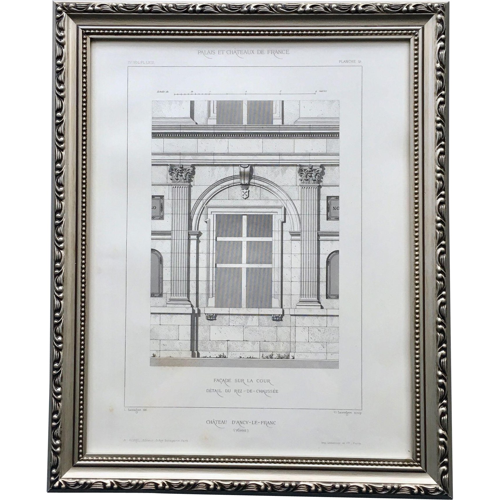 Architectural Prints Framed 19th Century Framed French Architectural Engraving Of