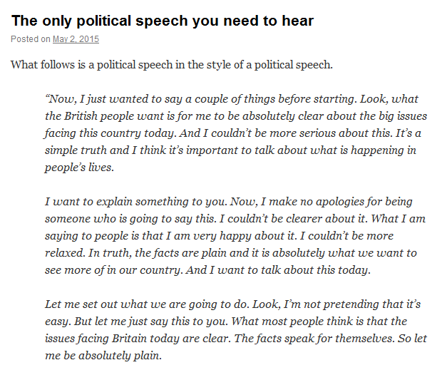 To Be Absolutely Clear This IsnT A Real Speech Let Me Explain