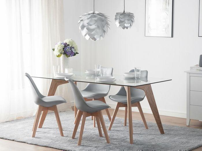 decoracion nordica, comedor con mesa de madera y vidrio, sillas ...