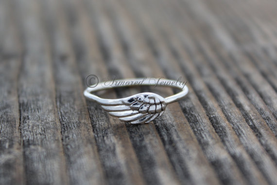 8a45dadc33dd1 Angel Wing Ring 4, Sterling Silver Angel feather wing ring, Delicate ...