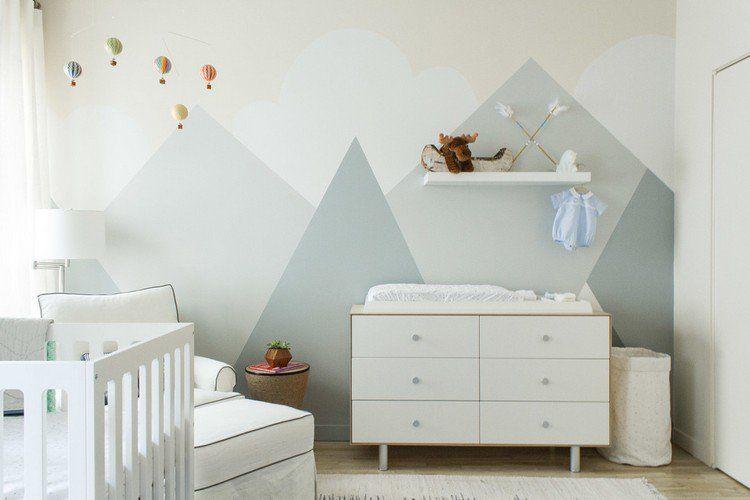 Dessin montagne stylis en couleur pour d corer les murs de la chambre chambre eden chambre - Couleur mur chambre bebe ...