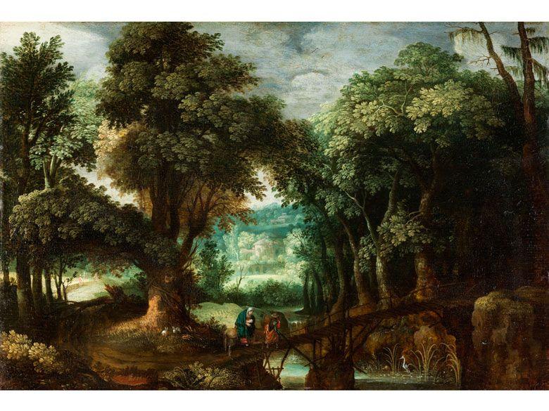 WALDLANDSCHAFT MIT DER FLUCHT NACH ÄGYPTEN Öl auf Holz. 29,5 x 43 cm. Maerten Ryckaert, ein hervorragender Landschaftsmaler, war der Sohn von David Ryckaert...