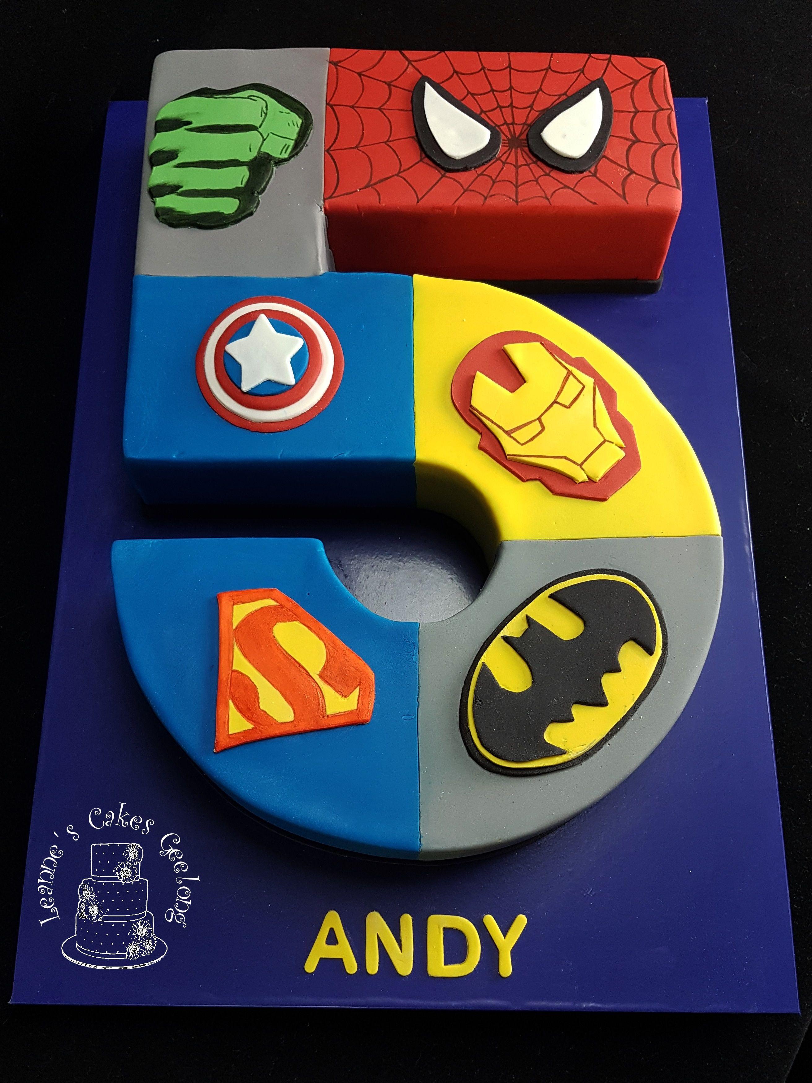 Superheroes Number 5 cake: Marbled mud cake with chocolate ganache ...