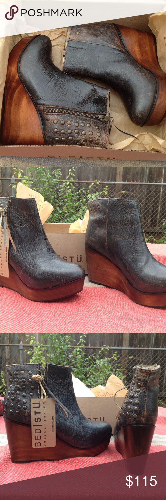 2c191e997cfe Bed Stu Ghent Black Lux Leather Platform Wedge Distress black lux leather  platform wedge ankle boot