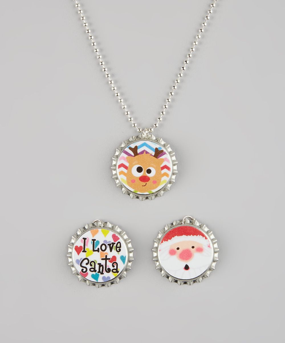 Red u white ui love santau bottle cap necklace set christmas gifts