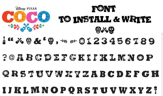 Coco Movie Inspired Font  To install and write AND CUT