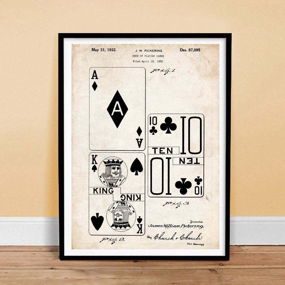 Amazon.com: DECK OF PLAYING CARDS INVENTION 18x24 PATENT ART POSTER PRINT PICKERING 1932 VINTAGE GIFT POKER BRIDGE UNFRAMED: Posters & Prints