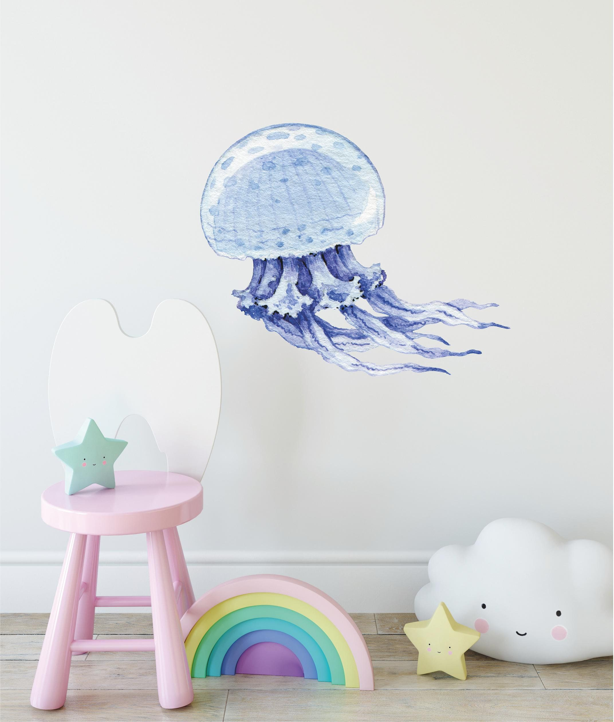 Watercolor Jellyfish Wall Decal Removable Fabric Vinyl Wall Etsy Nursery Wall Stickers Penguin Wall Watercolor Jellyfish