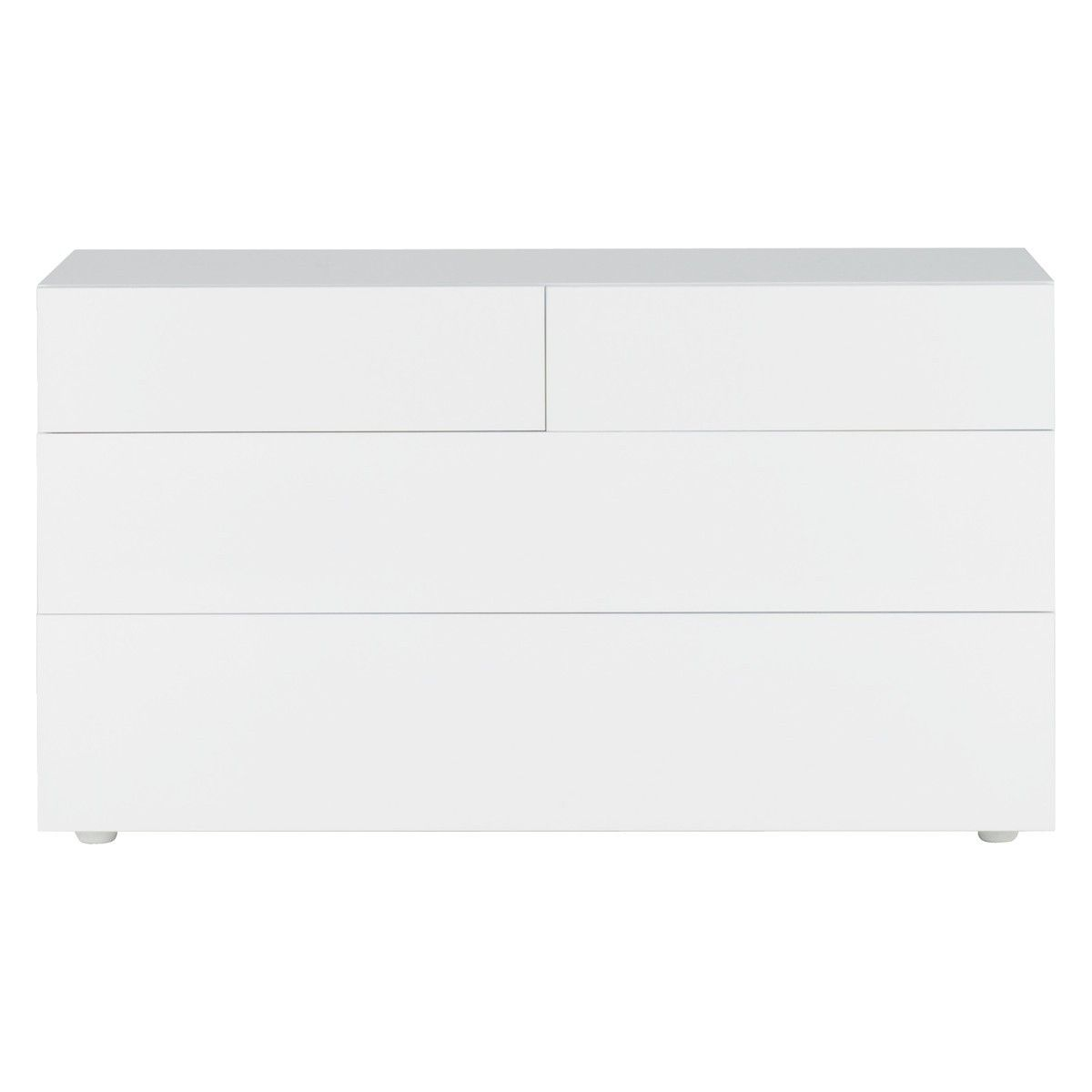 perouse white 4 drawer chest 140cm width drawers white drawers