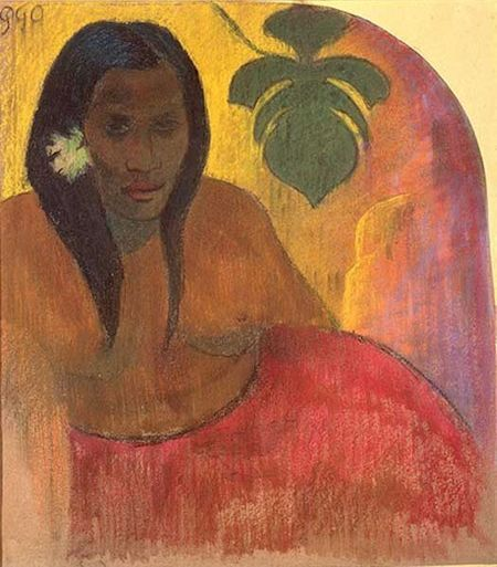 Paul Gaugain, Tahitian woman, circa 1894, charcoal and pastel on paper, glued to yellow woven paper, mounted on grey millboard sheet.