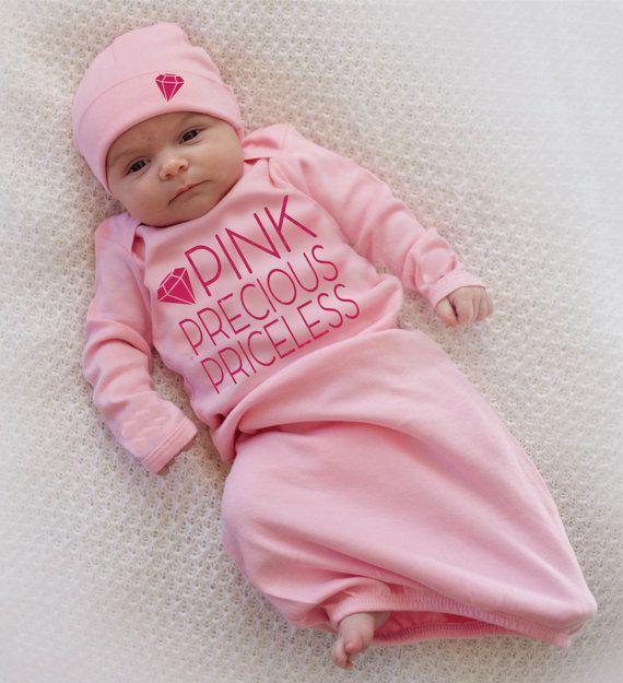 newborn footed pajamas baby girl clothes Light pink newborn girl coming home outfit baby girl coming home outfit baby shower gift