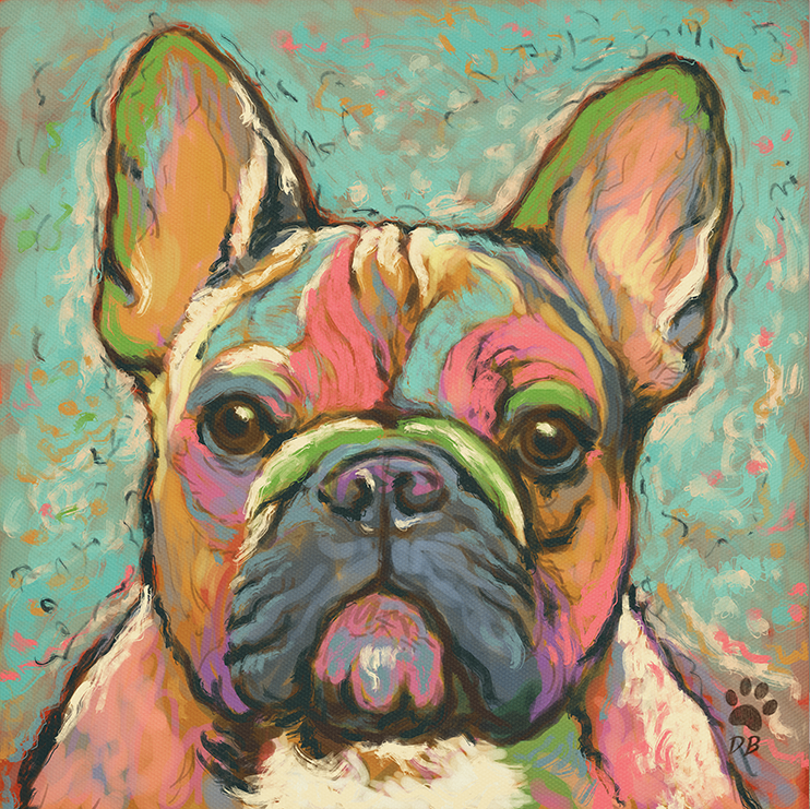 French Bulldog Abstract Paint Animals MULTI CANVAS WALL ART Picture Print