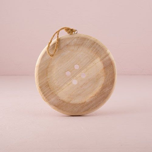 Charming Wooden Button Decoration with Natural Finish - Medium White