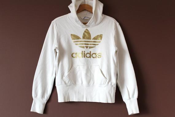 White Gold ADIDAS Sweatshirt, Vintage Adidas Hoodie, Big