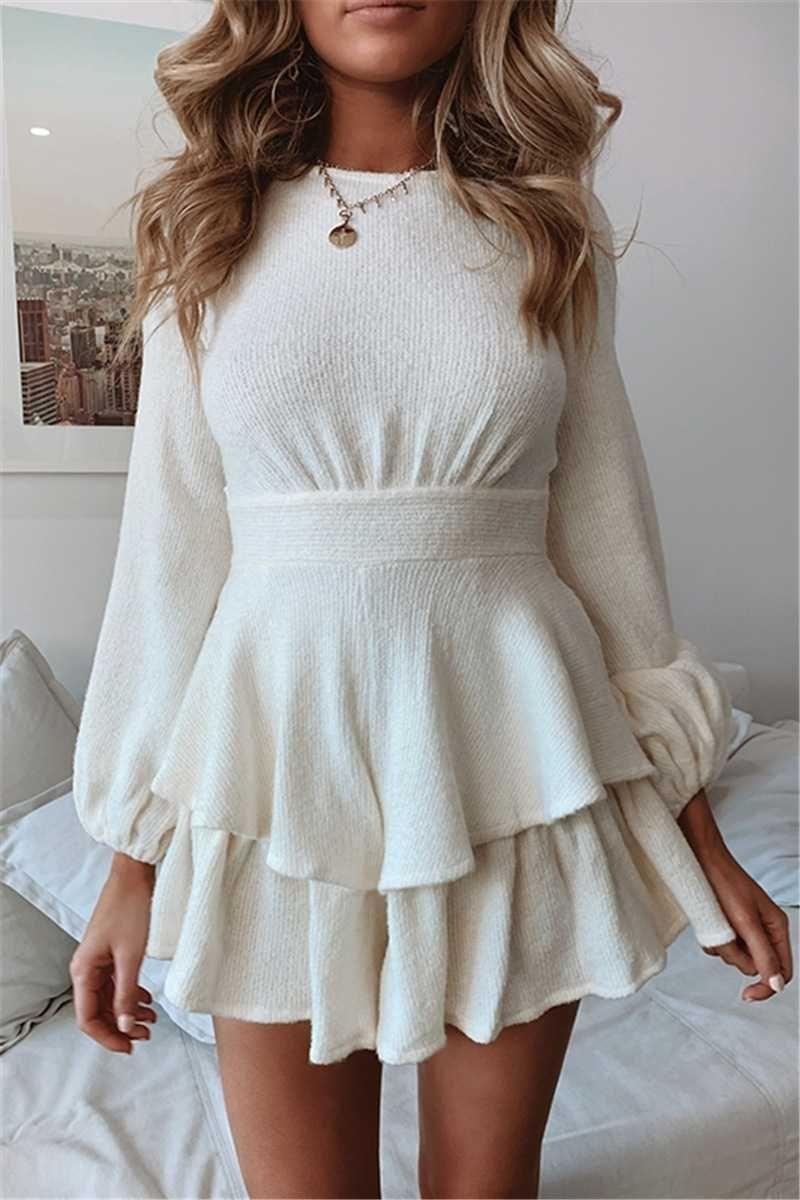 Tiered Ruffled Short Knit Sweater Dress Ladies Plus Size Dresses White Mini Dress White Long Sleeve Sweater [ 1200 x 800 Pixel ]