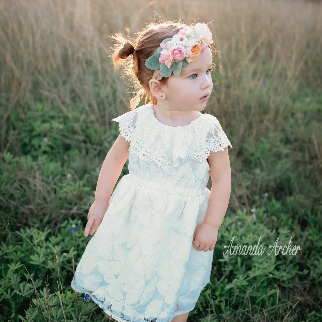 Flower blossom lace dress flower girl or toddler dress special