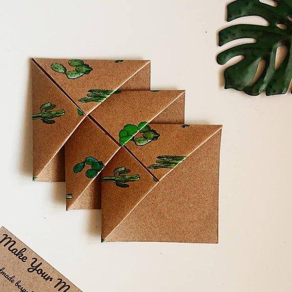 Photo of Handmade Origami Bookmark – Unique Bookmarks – Reader Gifts – Corner Bookmarks – Cactus Print – Set of 3