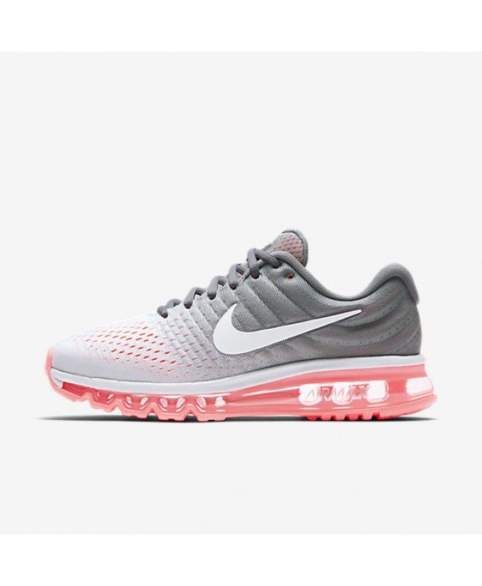 newest fe480 34acf Nike Air Max 2017 Pure Platinum Cool Grey Hot Lava White Womens Shoe