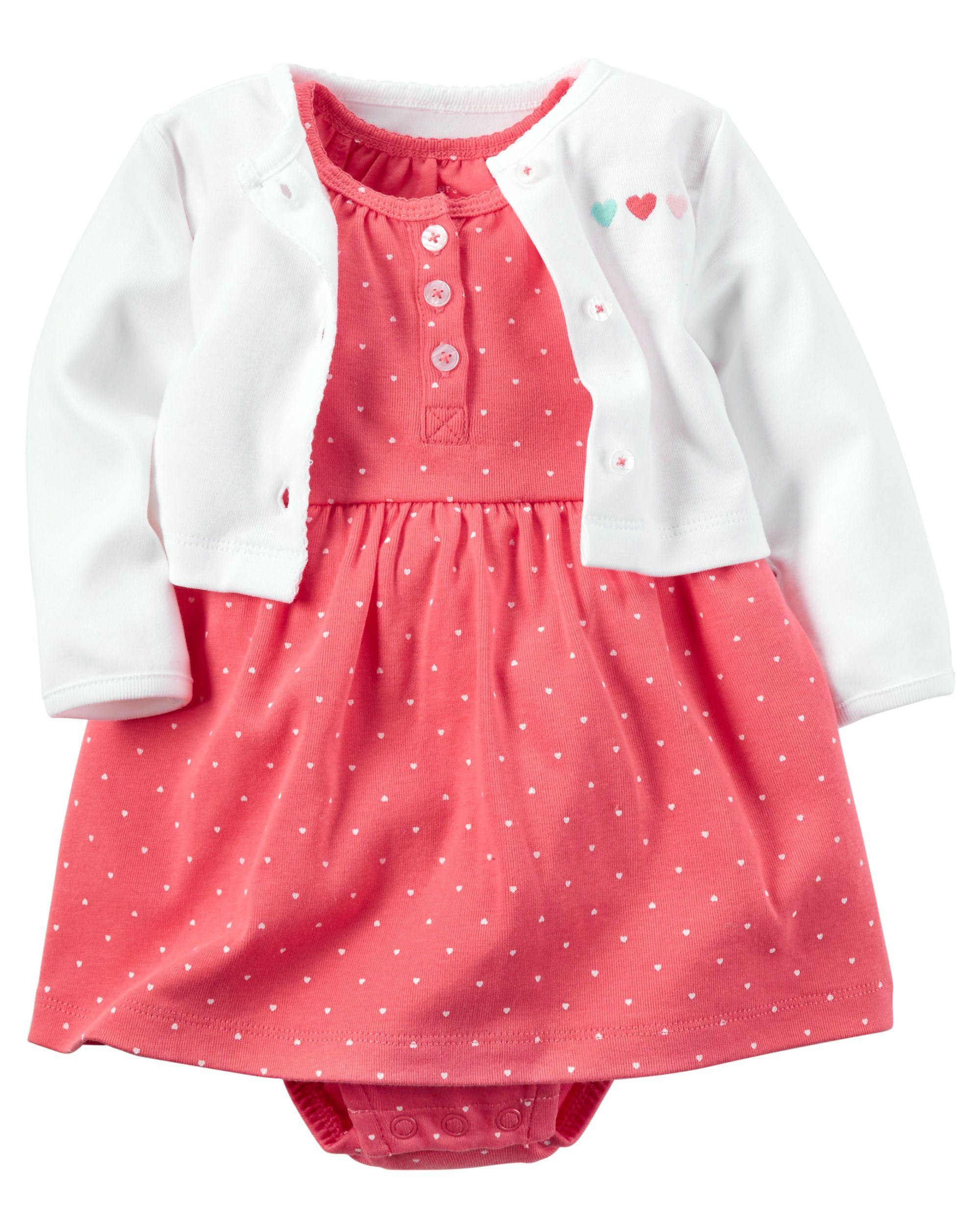 be01b6554 2-Piece Babysoft Bodysuit Dress   Cardigan Set