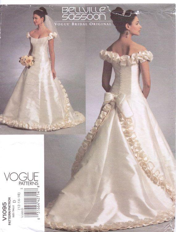 Bellville Sassoon Womens Wedding Dress Off the Shoulder Vogue Sewing ...