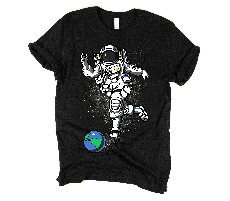 Astronaut bowling tshirt space earth tee mens