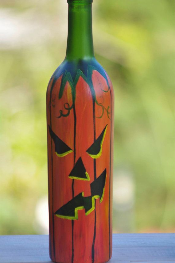 Painted lighted wine bottle halloween jackolantern 9150 by for Wine bottle arts and crafts