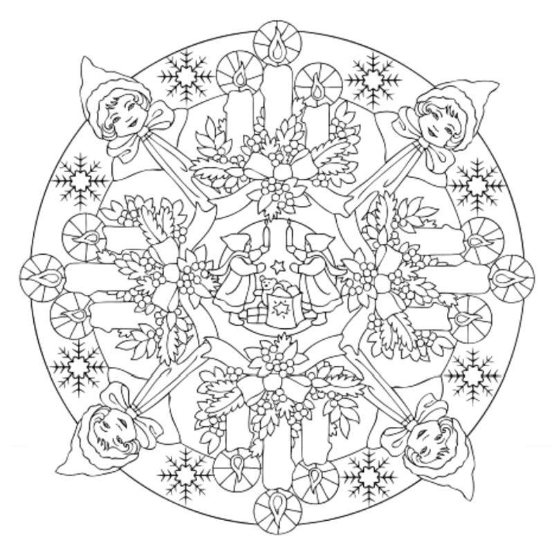 Mandala 602, Christmas Designs 3D Coloring Book, Dover Publications ...