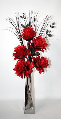 Artificial silk flower arrangement red dragon flowers in silver artificial silk flower arrangement red dragon flowers in silver vase 60cm tal view more on the link httpzeppyproductgb2141738652182 mightylinksfo