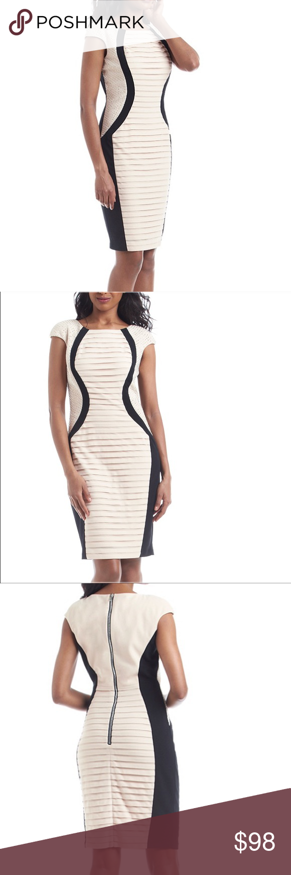 Black Cream Studded Sides Dress Sleek Fashion Fashion Clothes Design [ 1740 x 580 Pixel ]