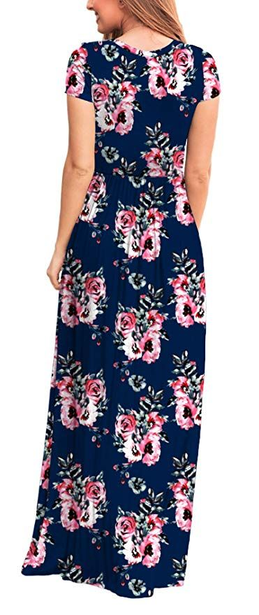 ba328d2aeaa Viishow Women s Short Sleeve Loose Plain Maxi Dresses Casual Long Dresses  with Pockets at Amazon Women s