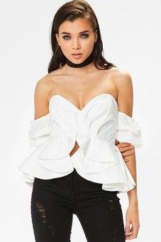 00c1ef30d176d Evie White Bardot Ruffle Sleeve Top