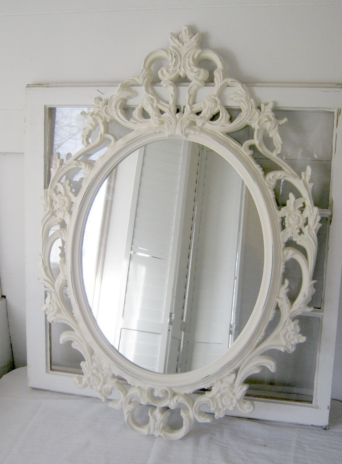 Shabby Chic Baroque Oval Mirror   Antique White   Ornate Mirror   Home Decor    Wedding
