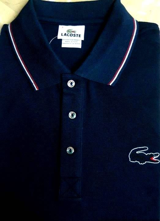 Brand New Authentic Factory Overrun Lacoste Men's Short Sleeve Outlined  Croc Pique Polo Color: Navy